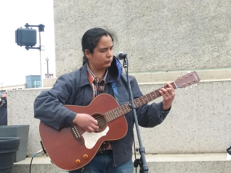 Detroit May Day 2021 Sarah Torres provides music and organizational skills