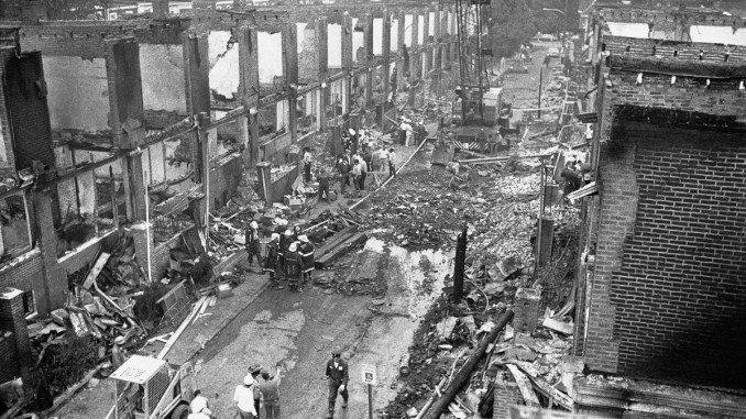 An entire neighborhood destroyed when police dropped a bomb on the MOVE house in Philadelphia, 1985