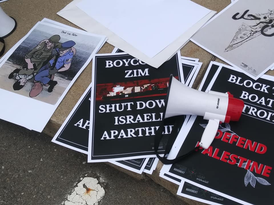 Detroit Says Block the Boat placards outside ZIM Shipping in Romulus on June 8, 2021