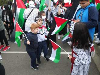 Free Palestine demonstration where children danced for the liberation of the people from occupation on May 16, 2021
