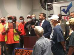 Detroit Says Vote Yes on Proposal P lawyer speaks at press conference