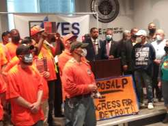 Detroit Says Vote Yes on Proposal P press conference at IBEW Local 58 Hall