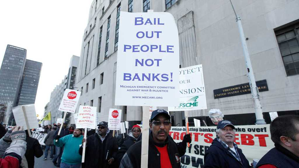Detroit demonstration against the bankruptcy trial during Oct. 2013