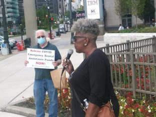 President of the Charlevoix Village Association speaks on the Detroit municipal crisis at Sept.. 8, 2021 rally