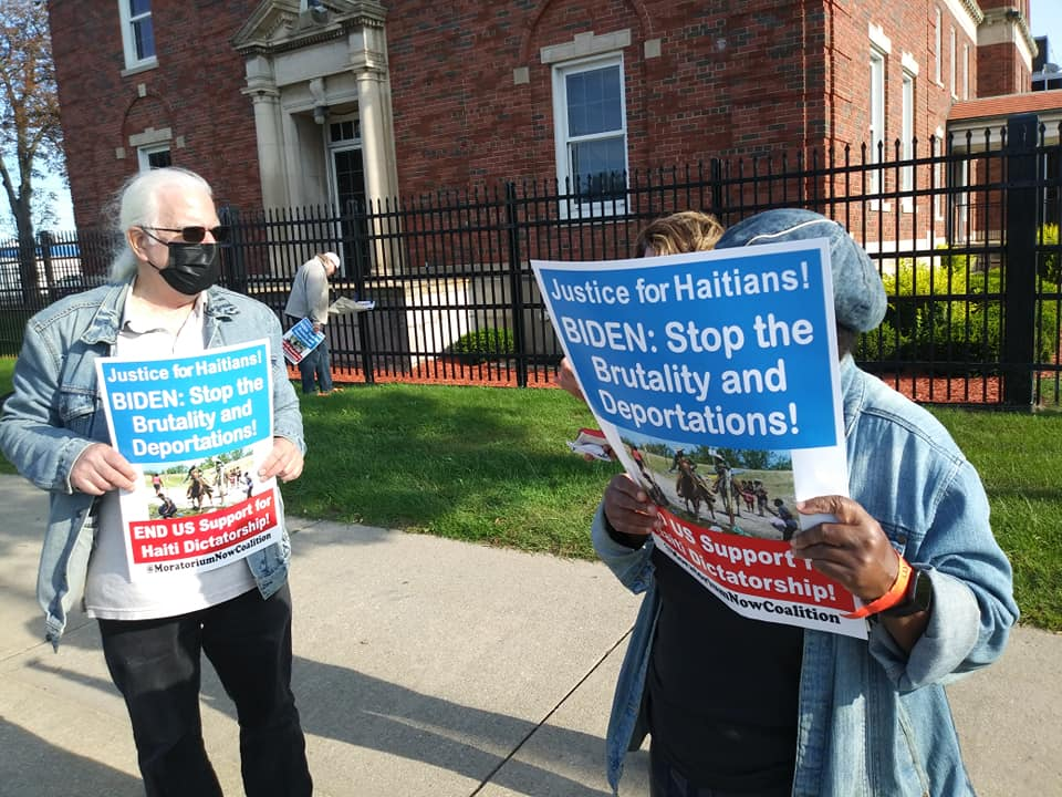 Detroit demonstration outside immigration center in solidarity with Haiti migrants, Sept. 24, 2021