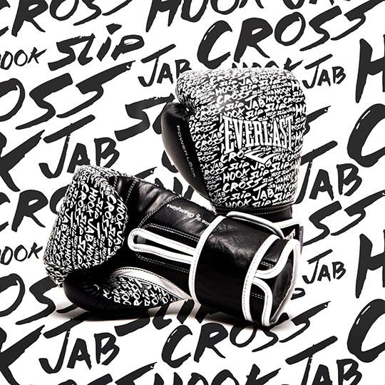 """New Exclusive Everlast """"Hook, Jab"""" Printed Powerlock Hook & Loop Training Gloves"""