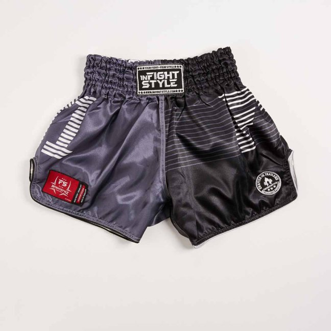 "InFightStyle ""Line Up"" Retro Shorts - Black/Grey"