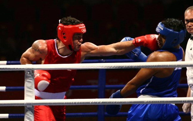 Boxers competing