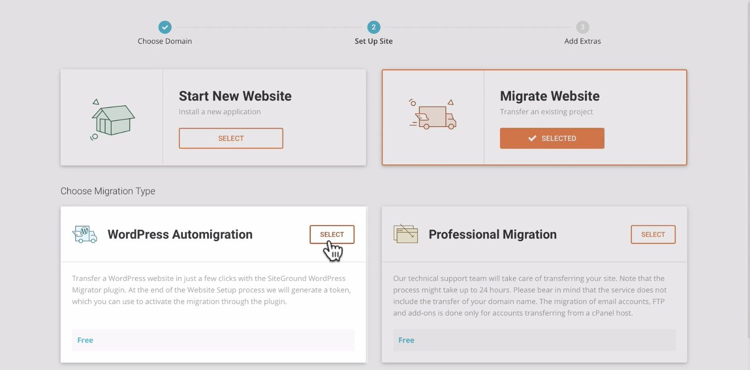 Siteground website migration tool