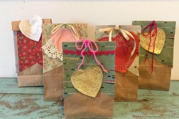 Valentines Day, Valentine gift bag, valentine treat bag, Valentine card bag, valentine craft, Wee Warhols, Austin TX