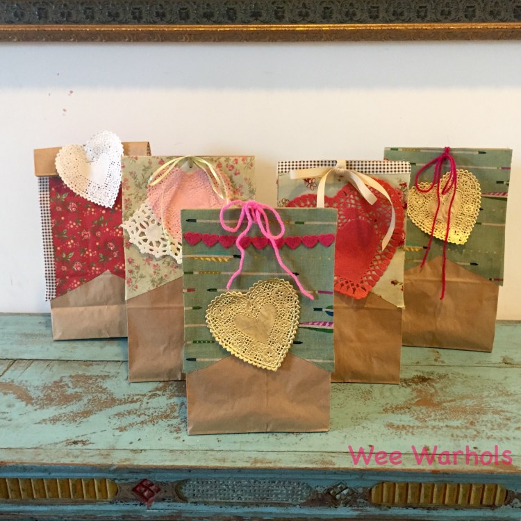 Valentines Day, Valentine gift bag, valentine treat bag, Valentine card bag, valentine craft, Wee Warhols, Austin TX