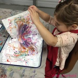 paper marbling, marbleized paper, Wee Warhols, Austin, TX, shaving cream, kids crafts, marbling