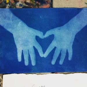 sun print, heart , hands, Wee Warhols, Austin