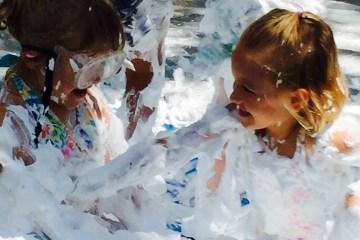Wee Warhols, summer fun, shaving cream, splash, summer camp, water day, Austin TX