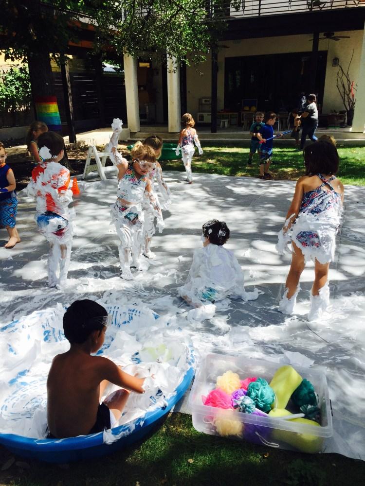 Wee Warhols, water day , shaving cream splash, summer camp, austin TX