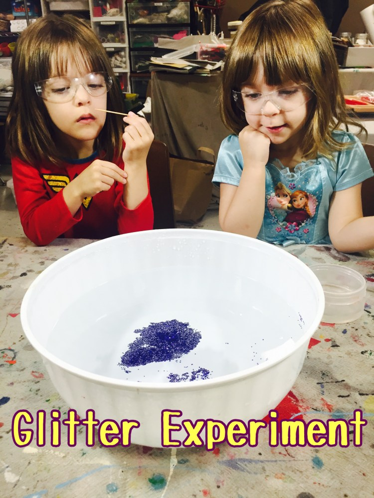 Glitter, STEM, STEAM, Wee Warhols, Austin, experiment, surface tension