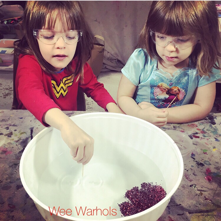 Wee Warhols, STEM, STEAM, experiment, glitter, surface tension, Austin