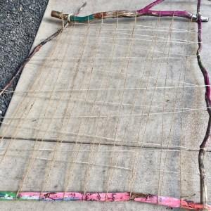 earth loom, weaving with kids, nature weaving, garden loom, nature art, branch weaving, Wee Warhols, Austin, art class,