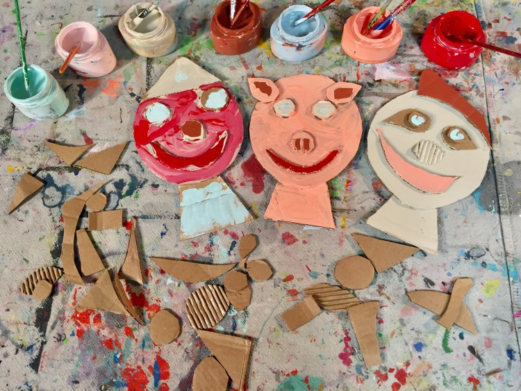 Cardboard Collage Faces