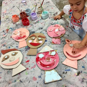 cardboard collage faces, process art, Barbara Rucci, Art Workshop for children, Wee Warhols, Austin