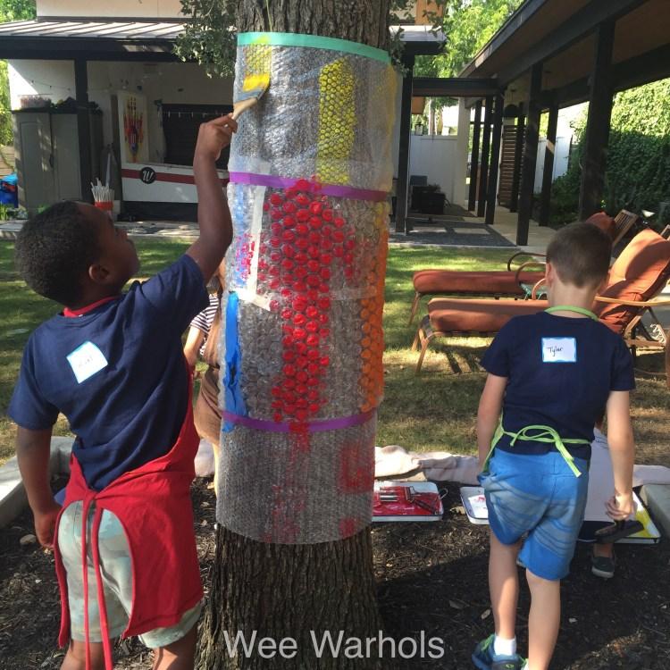 printmaking, bubble wrap, process art, action art, Wee Warhol's, bubble tree, art class, austin tx,