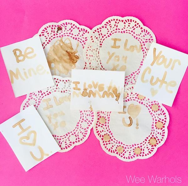 Valentine's Day Science, secret message cards, Valentine, handmade, diy, Wee Warhols, Austin, lemon, invisible ink