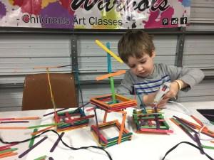 building, engineering, craft sticks, popsicle sticks, sculpture, Wee Warhols, Austin TX
