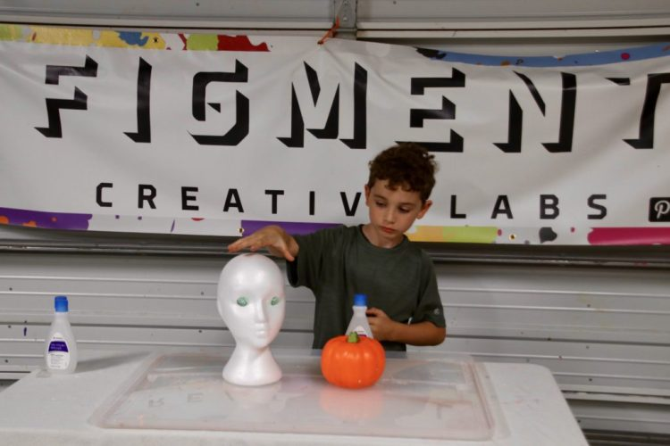 science experiment, melting styrofoam with acetone, simple kids experiment, Figment Creative Labs, Austin Texas, polystyrene, halloween experiment, volcano experiment, cool science