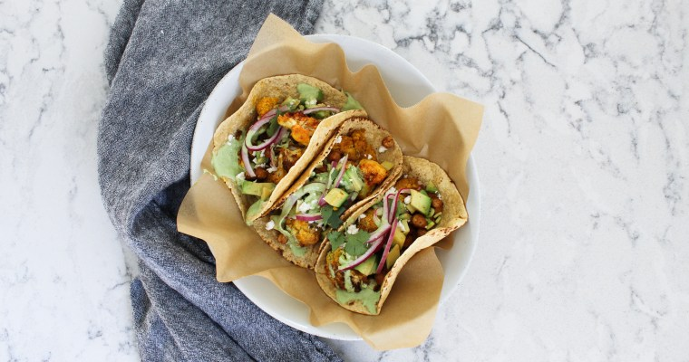 Roasted Cauliflower & Chickpea Tacos