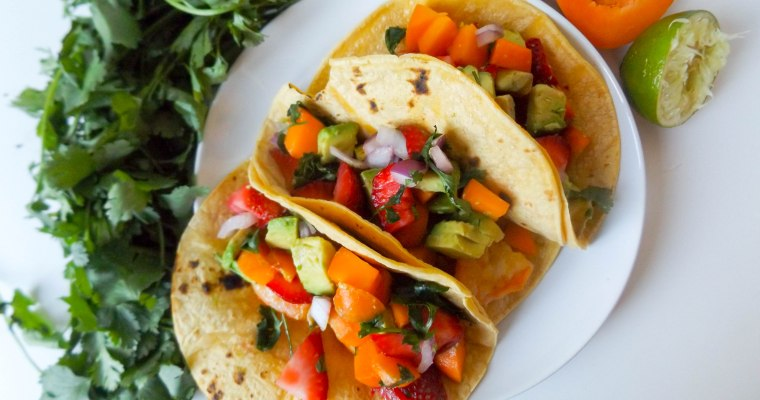 Shrimp Tacos with Apricot Strawberry Salsa