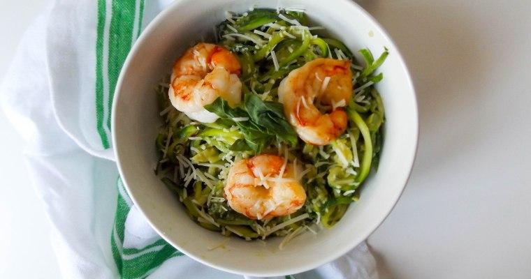 Avocado Basil Zoodles & Shrimp
