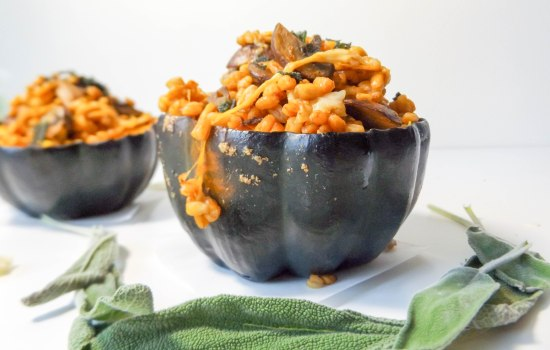 Mushroom Farro Risotto stuffed Acorn Squash