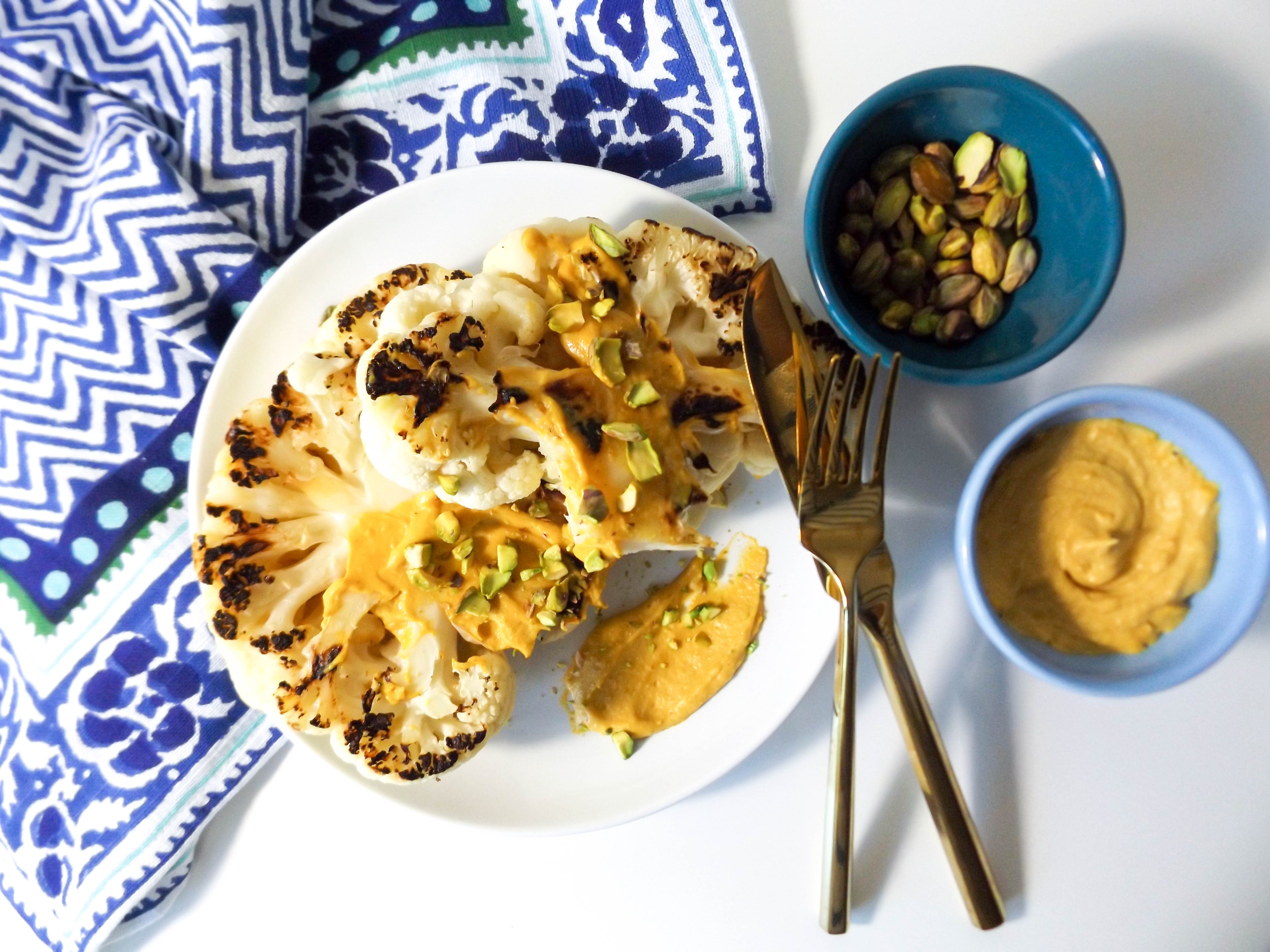 Cauliflower Steak with Pumpkin Tahini Dressing and Pistachios
