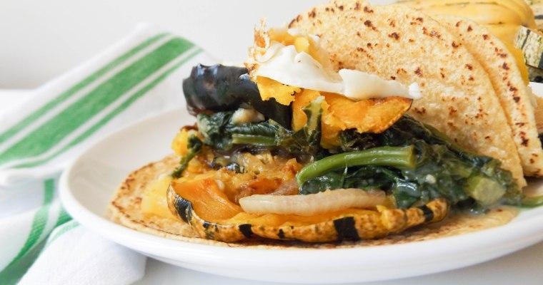 Creamy Kale & Spinach Squash Tacos