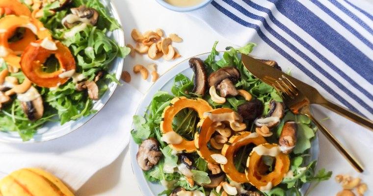 Warm Delicata Squash & Mushroom Miso Tahini Salad