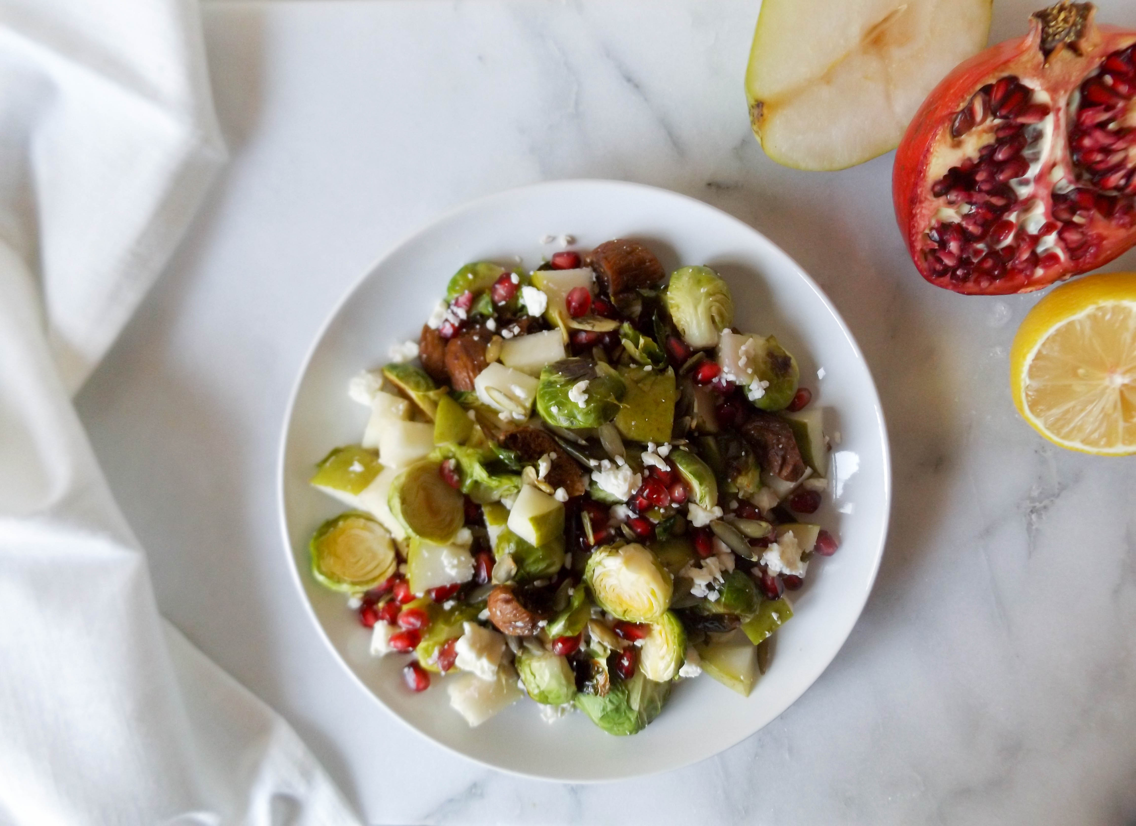 Brussels Sprouts with Pear Pomegranate Figs & Feta