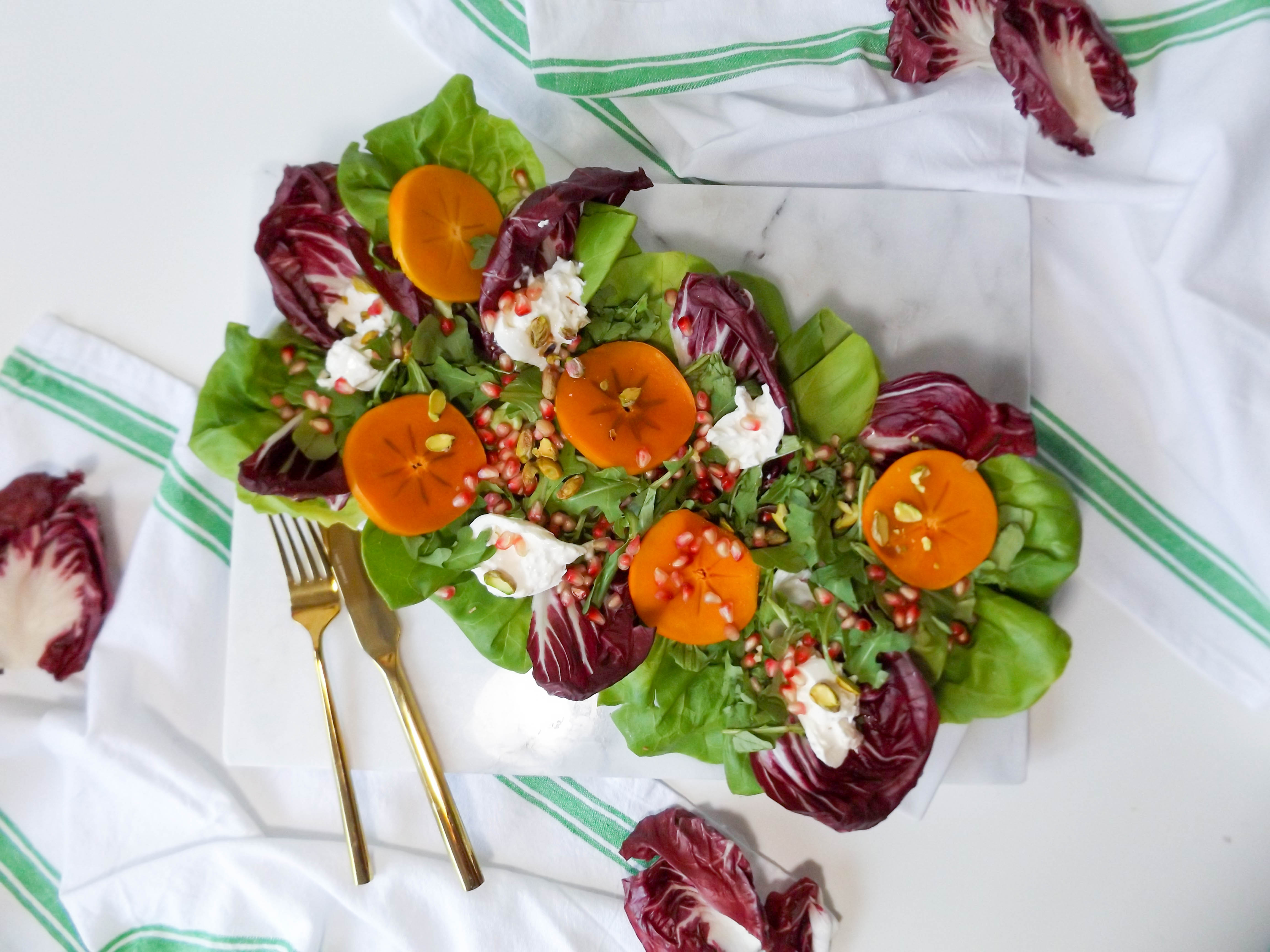 Persimmon Pomegranate & Burrata Salad
