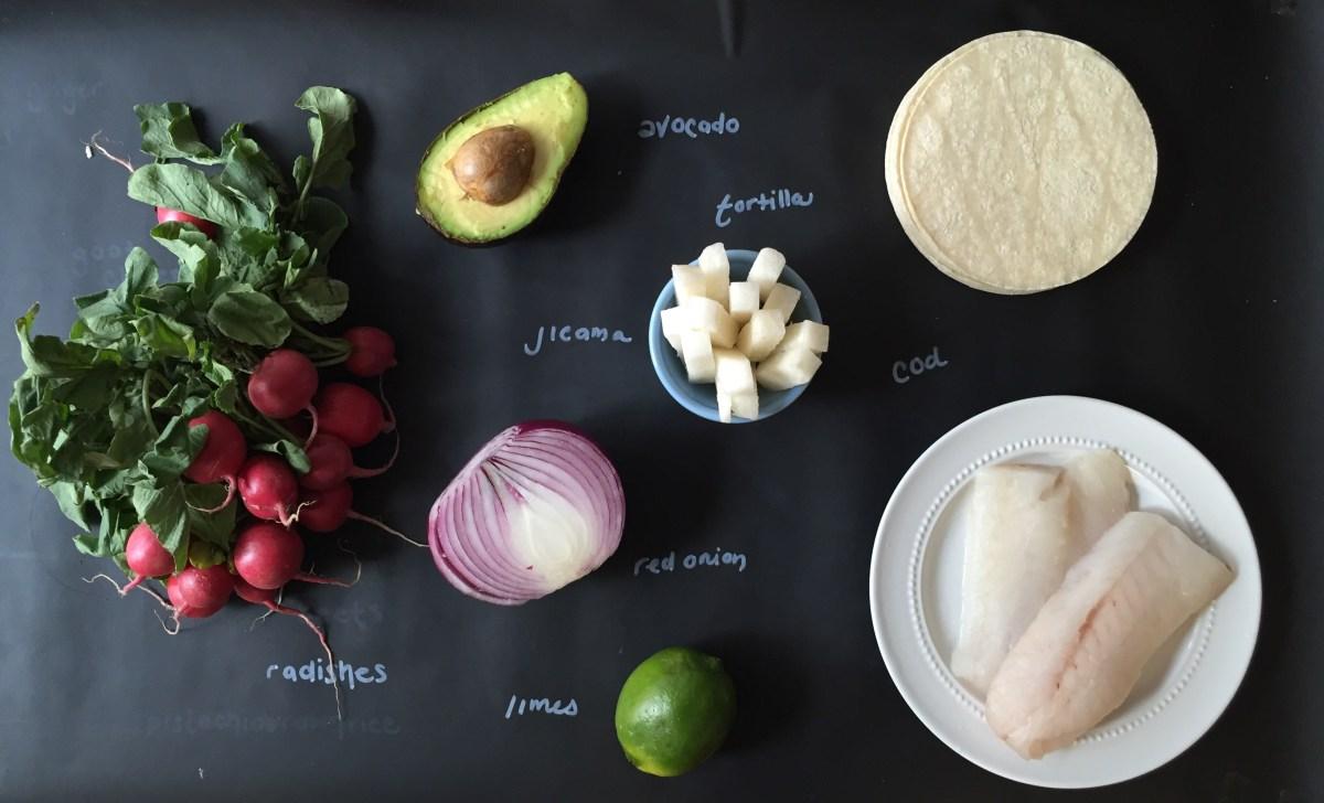 Fish Tacos with jicama radish slaw