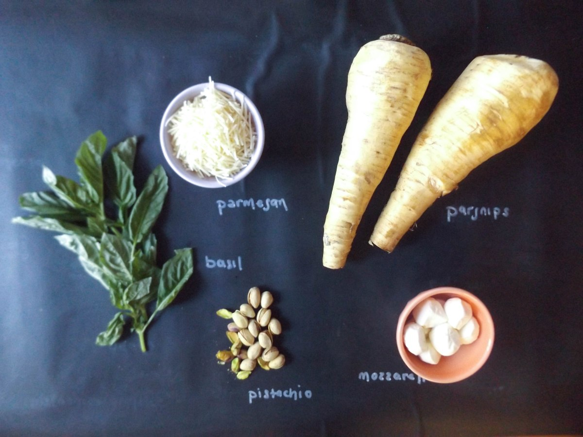 parsnip noodles pistachio pesto