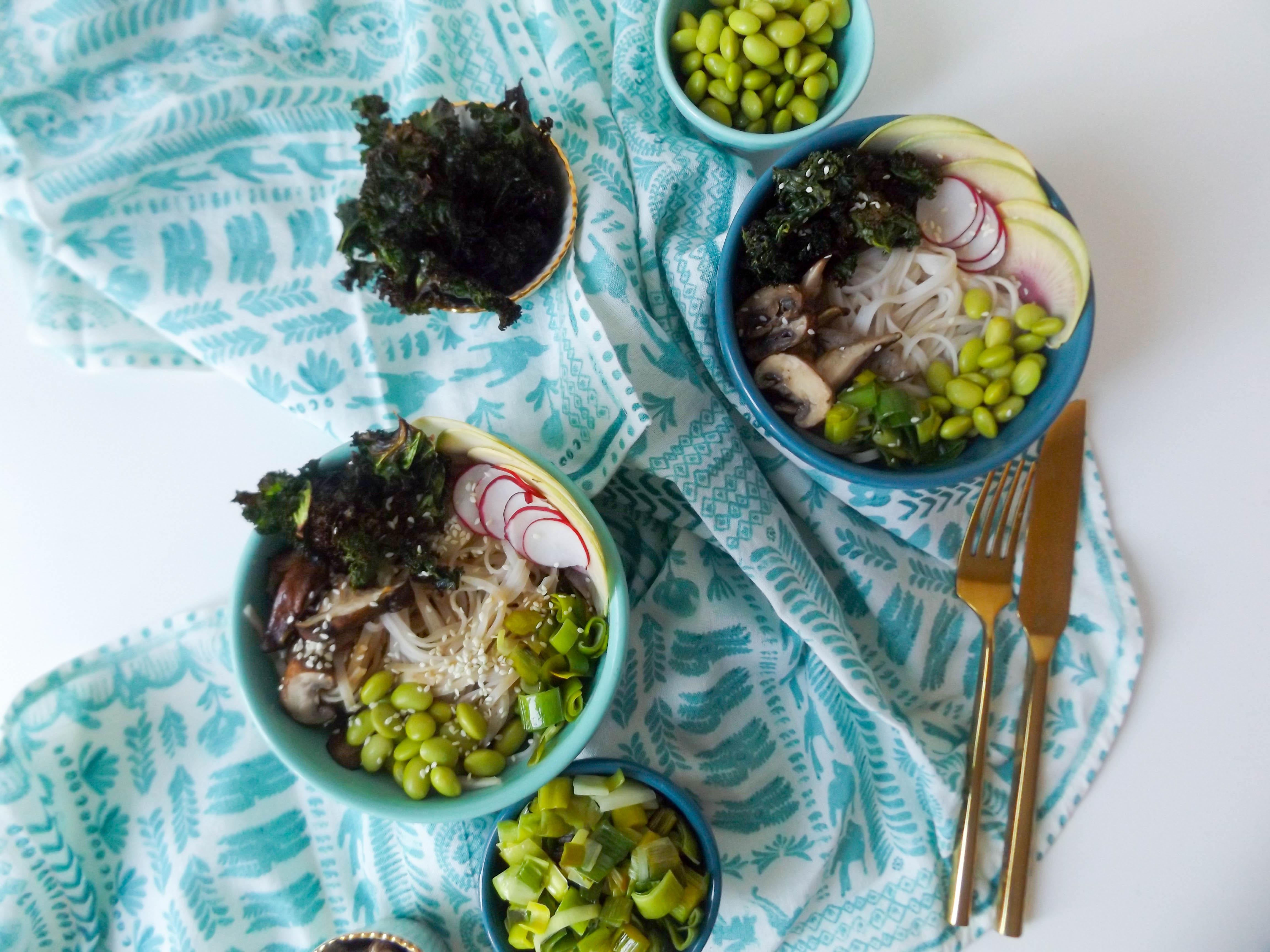 Peanut Brown Rice Noodle Veggie Bowls