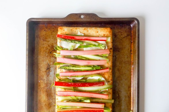 Rhubarb and Asparagus Flatbread Pizza