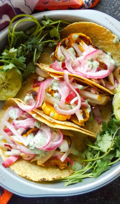 Honeynut Squash Tacos with Pear Radicchio Slaw
