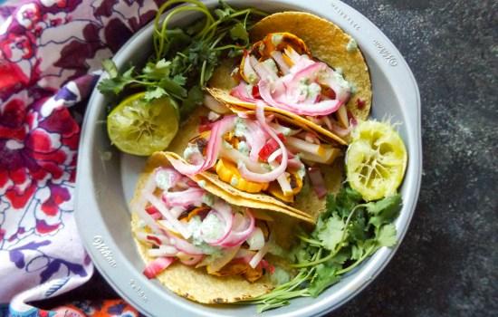 Honeynut Squash Tacos with Pear Radicchio Slaw