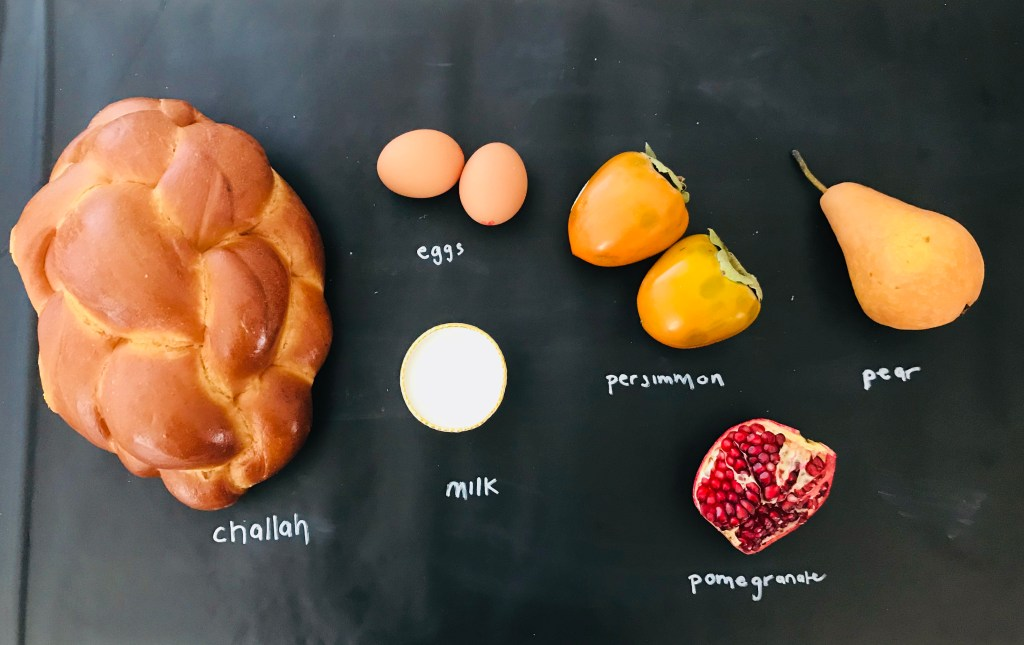Challah French Toast with Persimmon & Pears