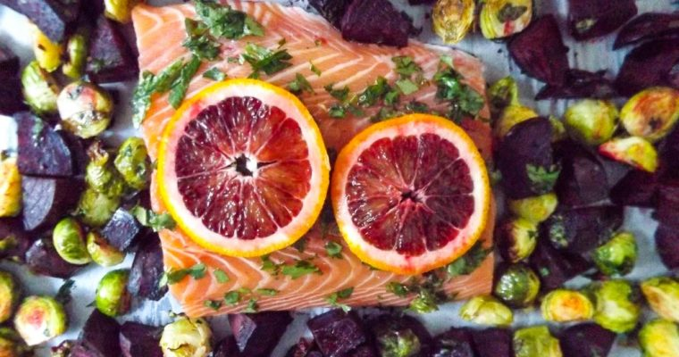 Blood Orange Salmon Sheet Pan Dinner