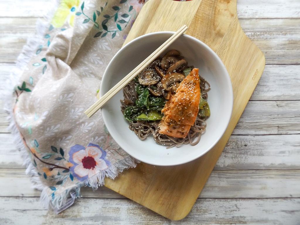 Bok Choy Salmon Soba Bowl