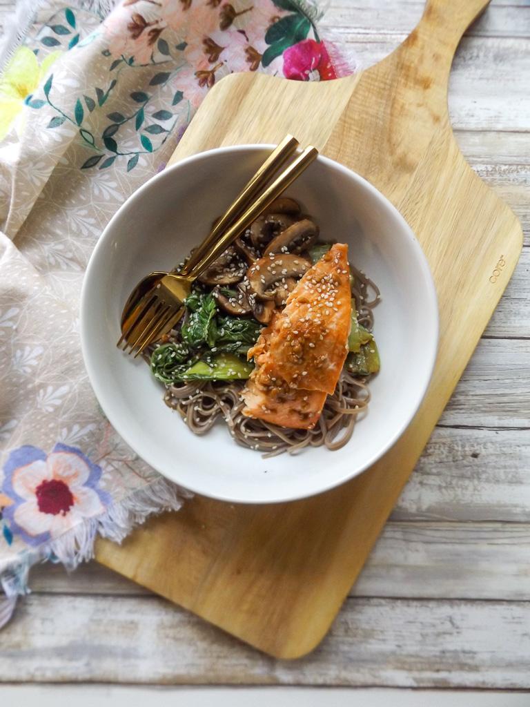 Bok CHoy Salmon Soba Noodles