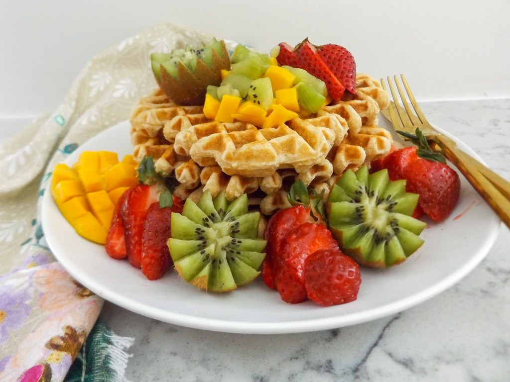 Whole Wheat Waffles with Kiwi Strawberries & Mango