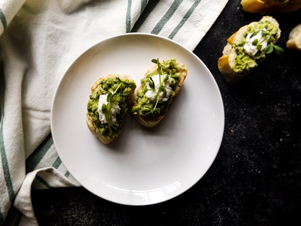 Avocado & Pea Crostini