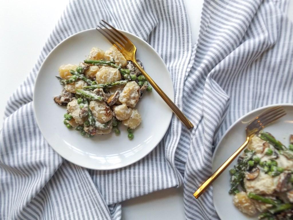 Cashew Miso Cauliflower Gnocchi with Spring Vegetables